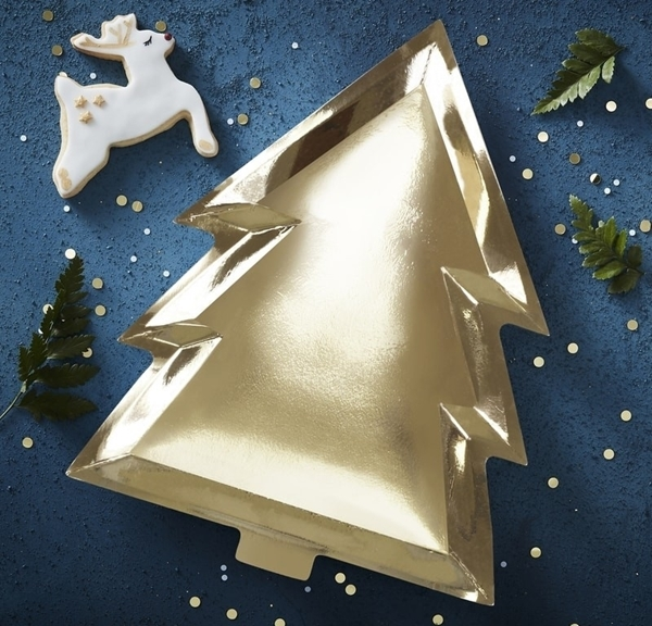 Picture of Gold foiled  Christmas tree shaped plate