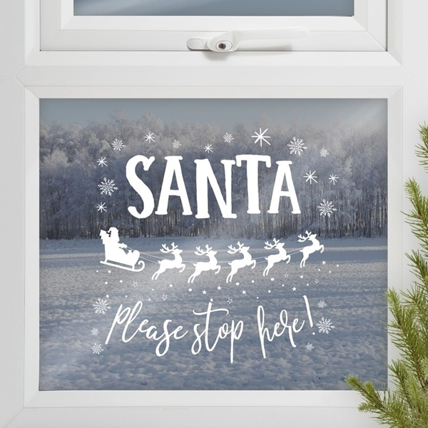Αυτοκόλλητο για τζάμι-Santa please stop here
