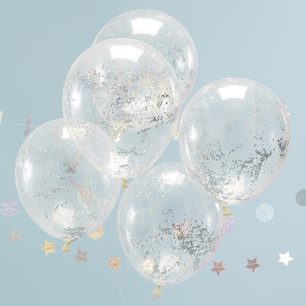 Picture of Holographic glitter confetti balloons