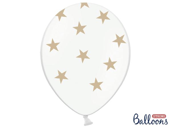 Μπαλόνια λευκά με χρυσά αστέρια (σετ 6)
