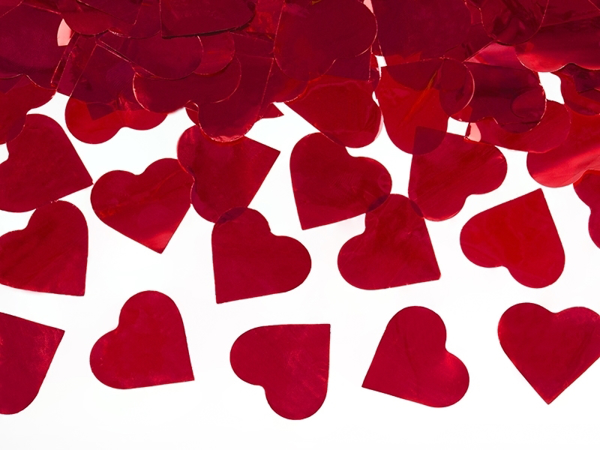 Picture of Confetti cannon with hearts, red, 60cm