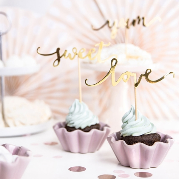 Picture of Cupcake toppers Love, gold, 13cm
