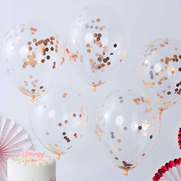 Picture of Rose Gold round Confetti Balloons
