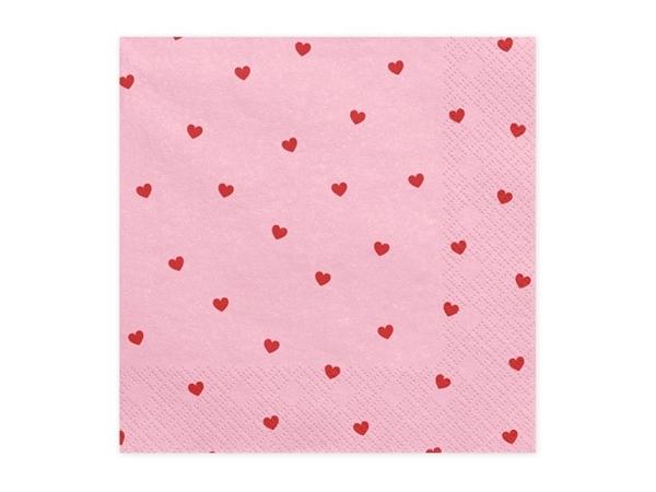 Χαρτοπετσέτες ροζ με καρδιές