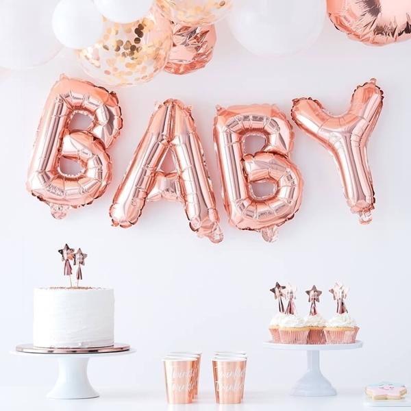 Μπαλόνια σετ BABY ροζ χρυσό
