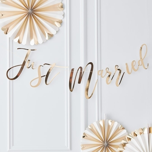 Picture of Gold Just Married Bunting Garland