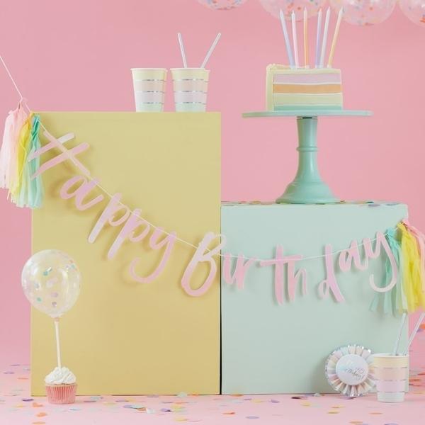 Γιρλάντα Happy Birthday Ιριδίζον