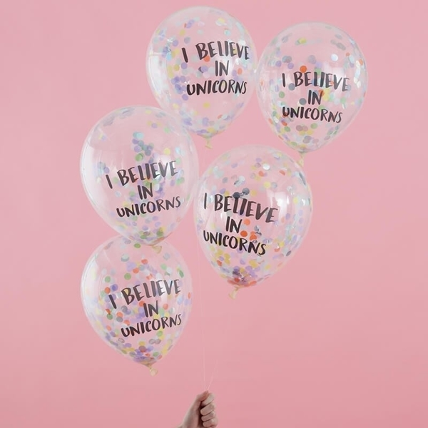 Μπαλόνια με κομφετί - I believe in unicorns