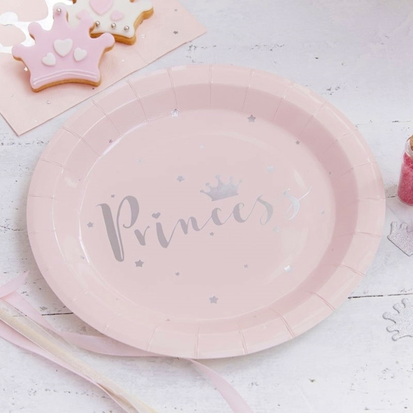 Picture of Princess-Paper Plates Pink & Silver Foiled ((23cm.)