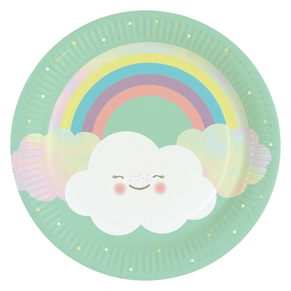Picture of Paper plates (23cm) - Cloud and rainbow