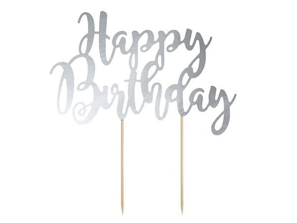 Διακοσμητικό τούρτας χάρτινο - Happy Birthday ασημί