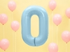 """Picture of Foil Balloon Number """"0"""", 86cm, light blue"""