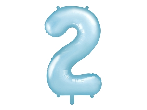 """Picture of Foil Balloon Number """"2"""", 86cm, light blue"""