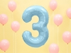 "Picture of Foil Balloon Number ""3"", 86cm, light blue"