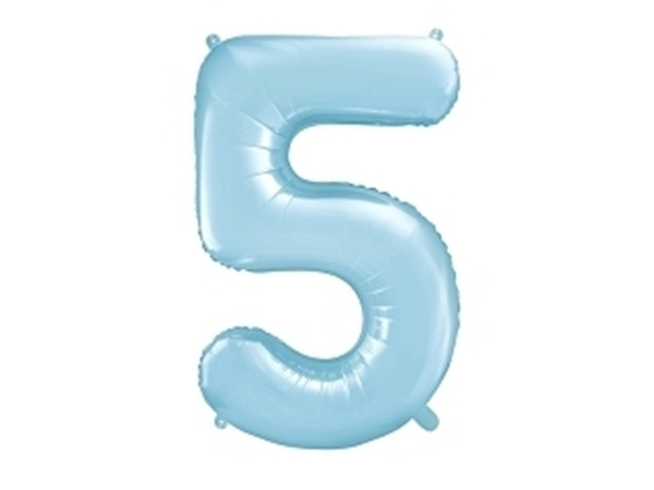 "Picture of Foil Balloon Number ""5"", 86cm, light blue"