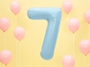 """Picture of Foil Balloon Number """"7"""", 86cm, light blue"""
