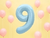 "Picture of Foil Balloon Number ""9"", 86cm, light blue"