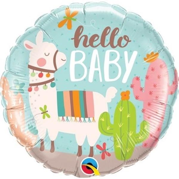 """Μπαλόνι foil """"hello baby"""" - Λάμα"""