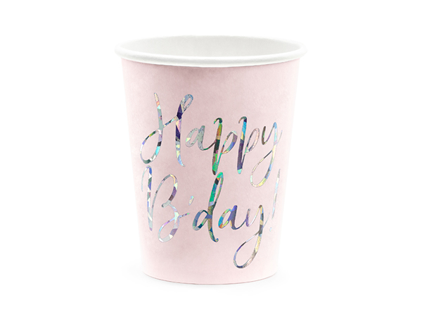Picture of Paper cups - Happy B'day iridiscent