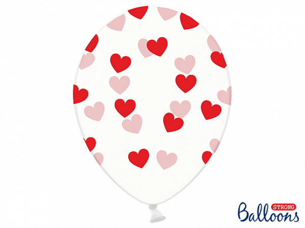 Picture of Clear balloons with red hearts