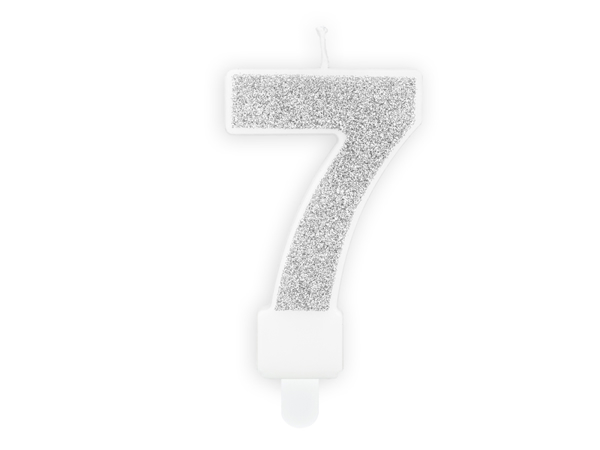 Picture of Silver Glitter 7 Number Candle