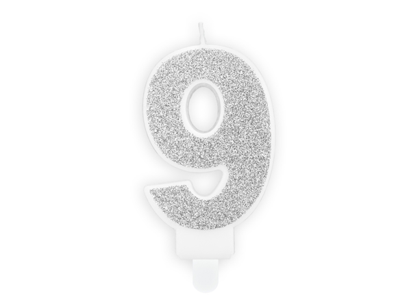 Picture of Silver Glitter 9 Number Candle