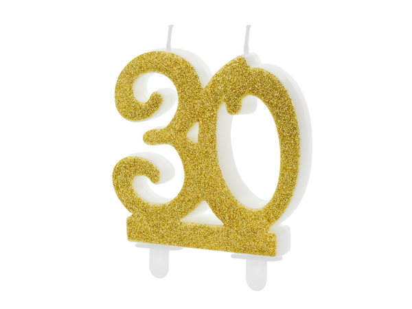 Picture of Gold Glitter 30 Number Candle