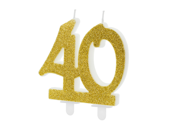 Picture of Gold Glitter 40 Number Candle