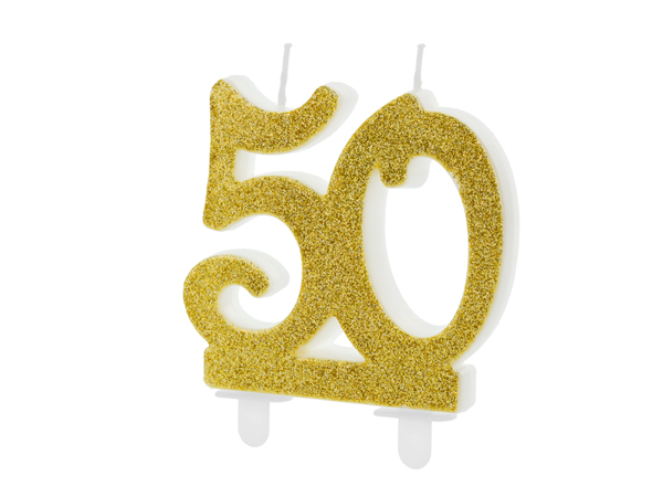 Picture of Gold Glitter 50 Number Candle
