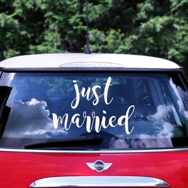 Αυτοκόλλητο Just Married για το αυτοκίνητο