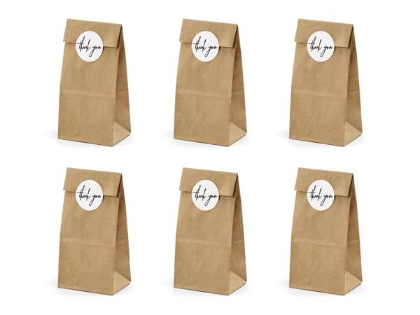 Σακουλάκια για δωράκια - Thank you kraft (6τμχ) (8εκ Μ x 18εκ Y)