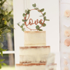 Διακοσμητικό τούρτας μεταλλικό - Love ροζ χρυσό