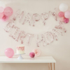 Picture of Happy Birthday Balloon Banner - Clear with pink iridescent shimmer