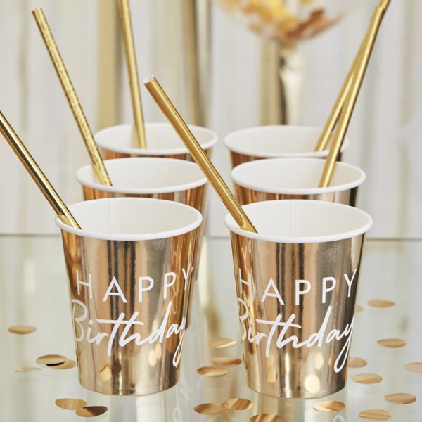 Picture of Paper cups - Happy Birthday gold