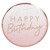 Picture of Paper plates - Happy Birthday ombre rose gold