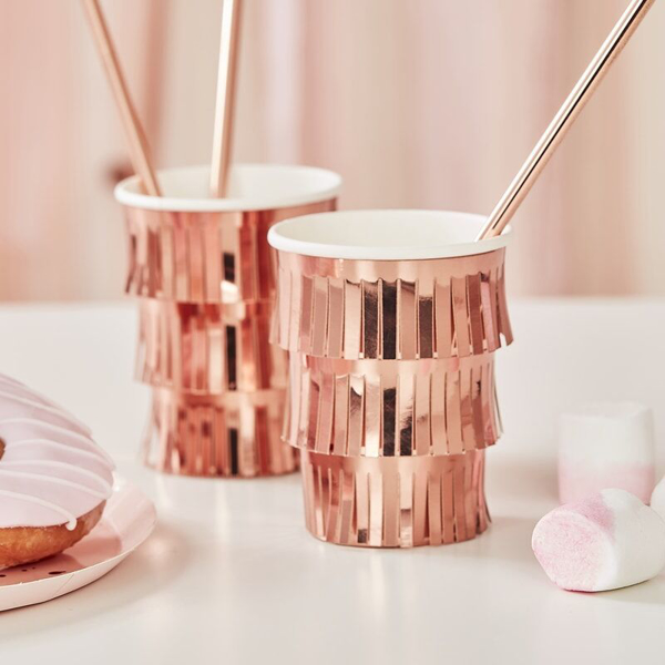 Picture of Paper cups - Rose gold with fringes