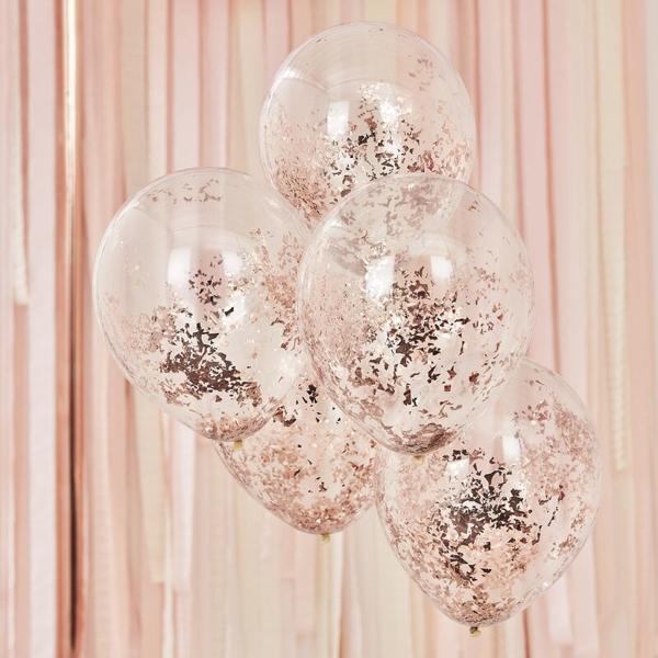 Μπαλόνια με ροζ χρυσό κομφετί