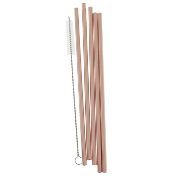 Picture of Stainless steel - Rose gold straws (5pcs)
