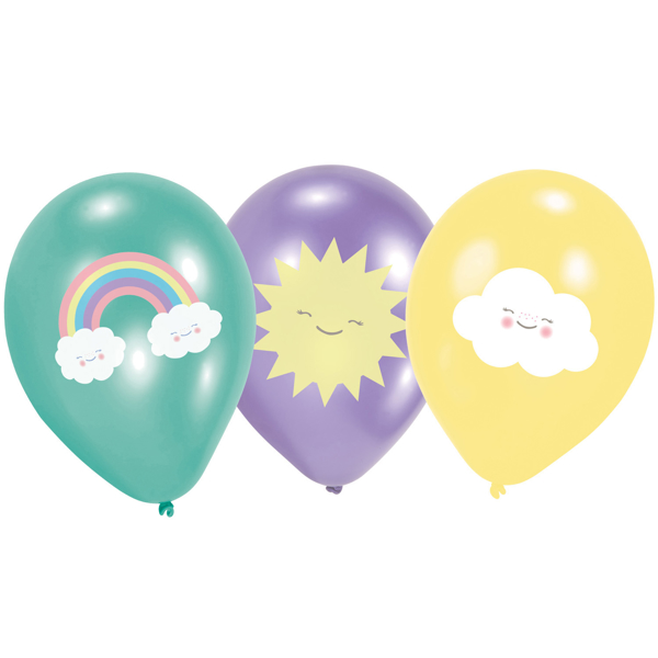 Picture of Tattoed ballοons - Cloud and rainbow (6pcs)