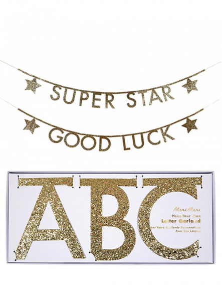Picture of Letter Banner - Gold glitter