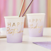 Picture of Paper cups - Happy Birthday lilac
