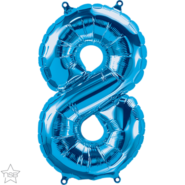 Picture of Foil balloon number 8 blue 40cm