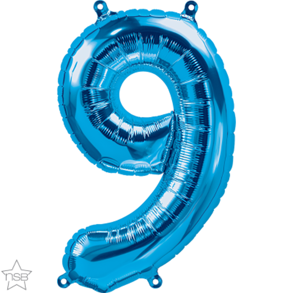 Picture of Foil balloon number 9 blue 40cm