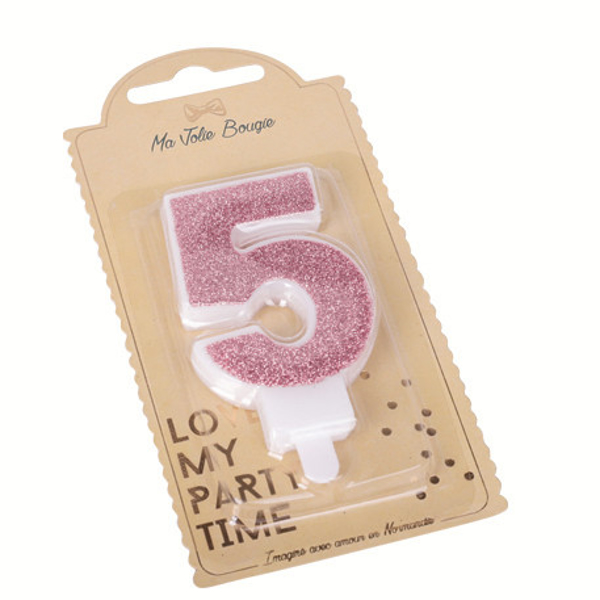 Picture of Rose Gold Glitter 5 Number Candle