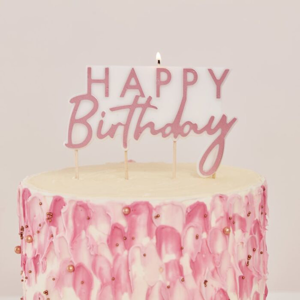 Picture of Rose gold Happy Birthday candle - Large