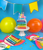 Picture of Μulticolor Happy Birthday candle