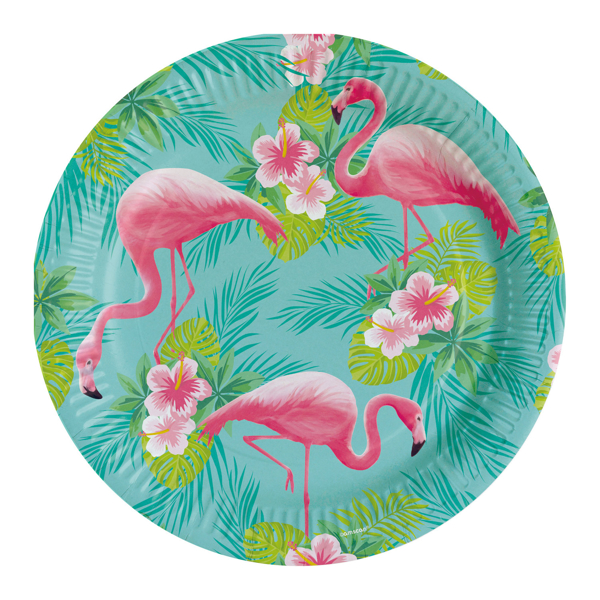 Picture of Dinner paper plates  - Flamingo