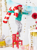 Picture of Foil balloon - Candy cane red