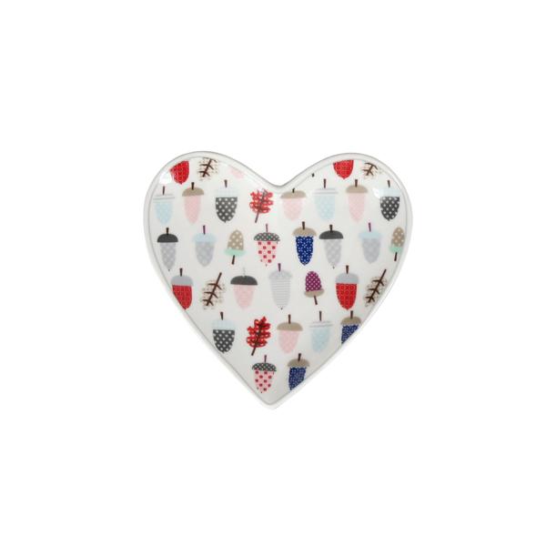 Πιατάκι κεραμικό καρδιά - Πολύχρωμα βελανίδια