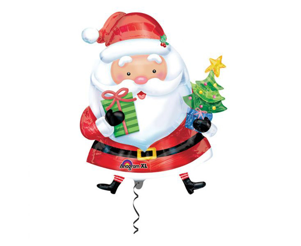 Picture of Foil Balloon Santa Claus with tree